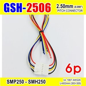 "[GSH-2506] SMP250-SMH250-6p 2.5mm(0.098"")pitch connector L=600mm (300+300)"
